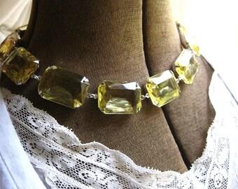 Yellow Statement Necklace, georgian paste jewelry, pale yellow necklace, Anna wintour necklace, light yellow necklace, citrine necklace