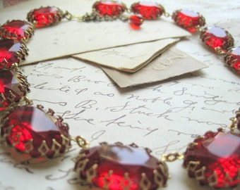 Ruby red statement Necklace, chunky statement Necklace, Necklace, vintage french ruby red statement collet necklace.