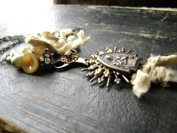 Saint Jude, a vintage assemblage prayer necklace  CIJ