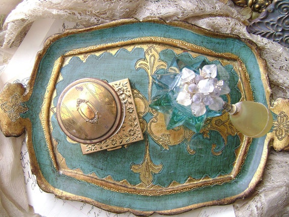 French Provincial Tray in antiqued guilded gold and aqua blue (just right for your boudoir)