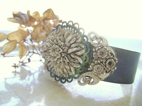 Reserved.   On Sale, Dans L'antiquité, antiqued and perfectly aged vintage assemblage Mum bracelet