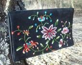 Vintage Purse Walborg Embroidered  Black Formal Floral Brocade Bag