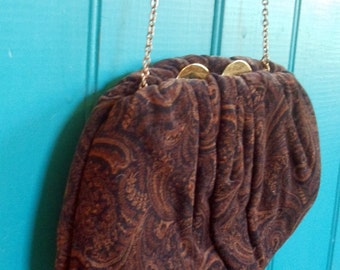 Brown Purse Vintage HL Paisley Semi Formal Handbag Chocolate Sixties Mod Velveteen