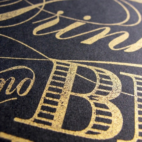 PRE-ORDER Eat Drink Be Married LETTERPRESS Print - GOLD on BLACK