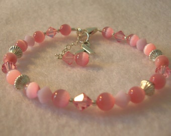 Breast Cancer Awareness Bracelet - Cats Eye and Crystal