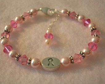 Breast Cancer Awareness Bracelet - Pink Pearl and Crystal
