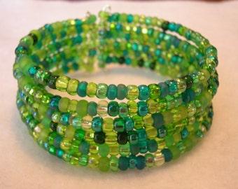 Irish Green Memory Wire Cuff
