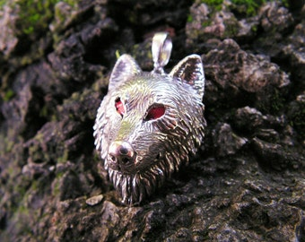 Sterling Silver Timber Wolf Pendant With Red Eyes