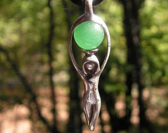 Sterling Silver Goddess Pendant With Aventurine