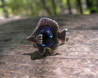 Sterling Silver Fish Ring With Cobalt Blue