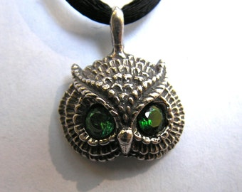 Sterling Silver Owl Pendant With Emerald Eyes