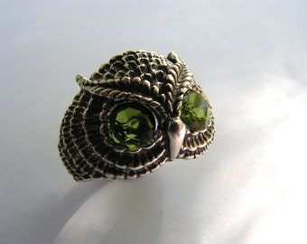 Sterling Silver Owl Ring With Peridot Eyes