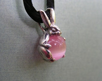 Sterling Silver Bunny Rabbit Pendant With Pink Stone