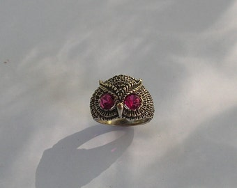 Sterling Silver Owl Ring With Ruby Eyes