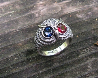 Sterling Silver Owl Ring With Sapphire And Garnet Eyes
