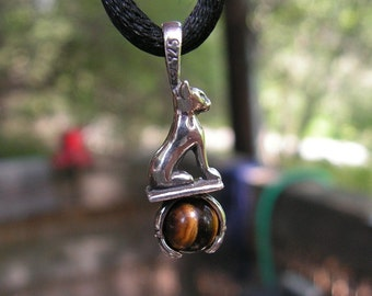 Sterling Silver Cat Goddess Pendant With Tiger Eye