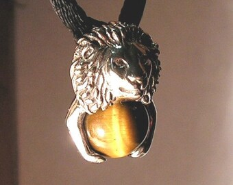 Sterling Silver Lion Pendant With Tiger Eye