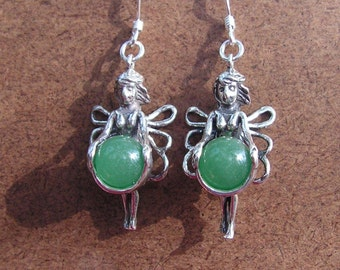 Sterling Silver Fairy Earrings With Aventurine