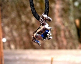 Sterling Silver Horse Pendant With Cobalt Blue Stone