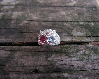 Sterling Silver Owl Ring With Aquamarine And Ruby Eyes