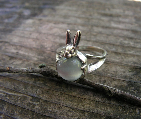 Sterling Silver Rabbit Ring With Gray Stone