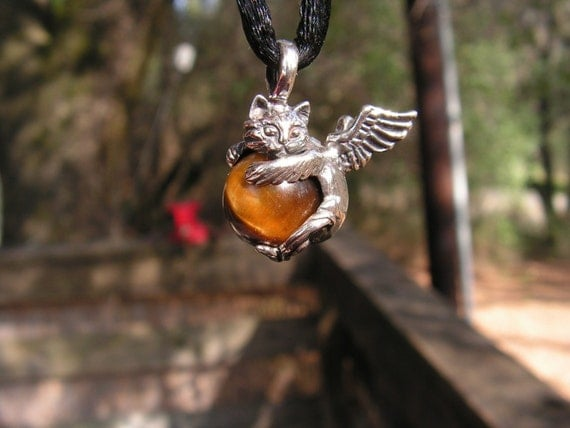 Sterling Silver Angel Kitty Pendant With Tiger Eye