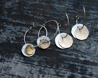 xs double mixed disc on hoop earrings.