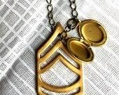 vintage brass chevron & locket charm necklace