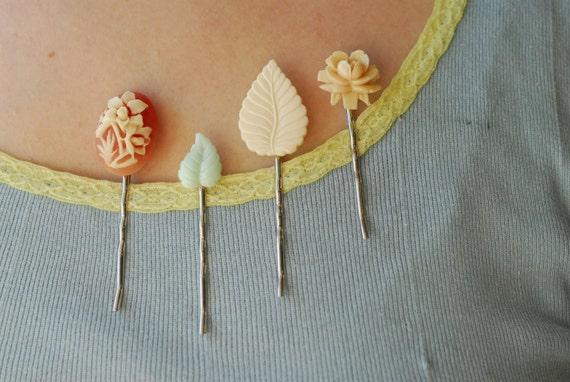 vintage bobbies - daffodil floral cameo