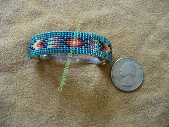 RESERVED loom/square stitch beaded Teal Ponytail Barrette