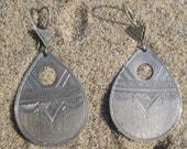 Old Silver Teardrop Etched Earrings