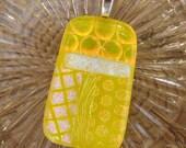 Yellow Dichroic Fused Glass Pendant, DIchoric Jewelry Pendant