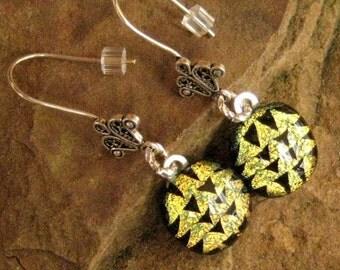 Dichoric Glass  Earrings, Fused Glass Earrings, Golden Arrowheads Dichroic French Hook Earrings, Gold Pattern Glass Earrings
