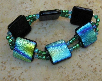 Stretchy Bracelet, Glass Stretch Bracelet, Blue and Gold Dichroic Jewelry,  Fused Glass Dichroic Stretch Bracelet - Mardi Gras