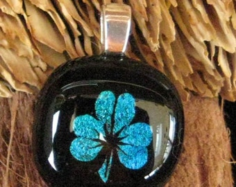 Small Green Shamrock Pendant, Fused Glass Shamrock Necklace, Irish Fused Glass Pendant, Small Emerald Green Shamrock, Dichroic Pendant