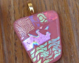 Fused Glass Necklace, Pink Glass Pendant, Salmon Pink Dichroic Pendant