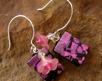 Pink Glass Earrings, Fused Glass Earrings, Dragonfly Earrings, Dichroic Fused Glass French Hook Earrings, Pink Dragonflies and Flowers