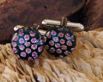 Polka Dot Cufflinks, Fused Glass Cufflinks, Dichroic Cufflinks Unisex Glass Cufflinks, Rosey Dots Dichroic Cufflinks