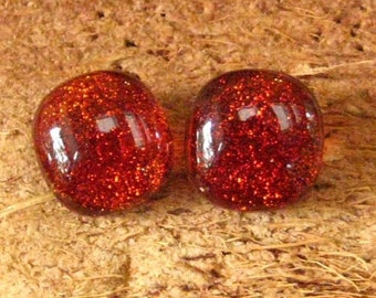 Fused Glass Button Earrings, Copper Colored Post Earrings, Glass Earrings, Rust Dichroic Button Earrings