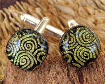 Copper Swirl Unisex Dichroic Fused Glass  Cufflinks, Dichoric Glass Cufflinks, Gold Unisex Cufflinks