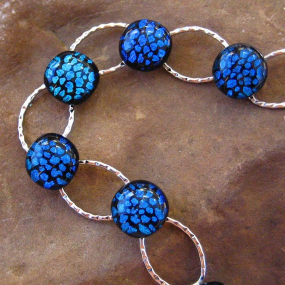 Shades of Blue Dichroic Glass Bracelet