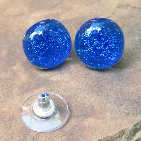 Cobalt  Blue Dichroic Fused Glass Button Earrings