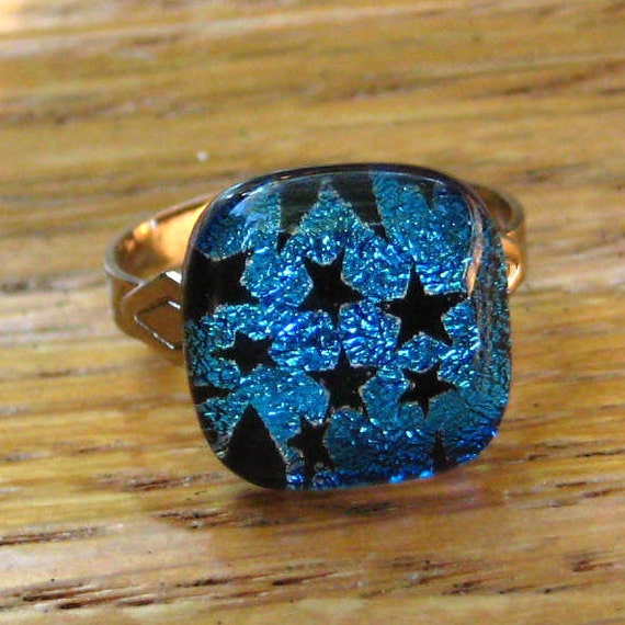 Blue Dichroic Glass  Ring - Blue Stars  Dichroic Fused Glass Ring