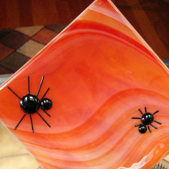 Halloween Fused Glass Dish, Orange Spider Halloween Fused Glass Plate