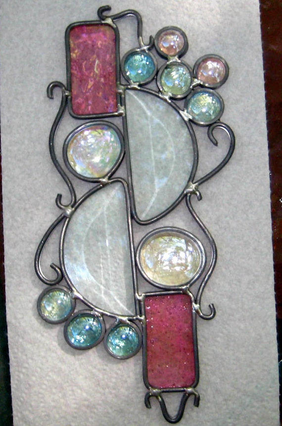 Abstract Stained Glass Suncatcher Contemporary Stained Glass Rainbow Maker-Pinks and Bevels
