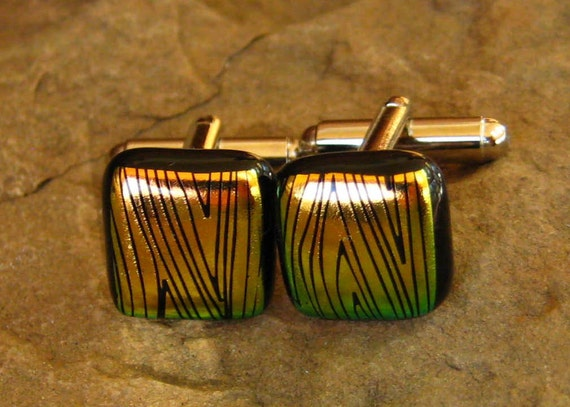 Fused Glass Cuff Links, Dichroic Fused Glass Unisex Cufflinks- Contemporary Copper