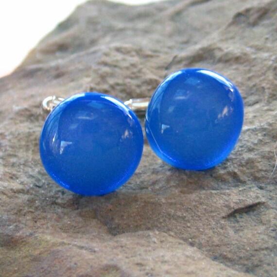 Blueberry Unisex Dichroic Fused Glass Cufflinks