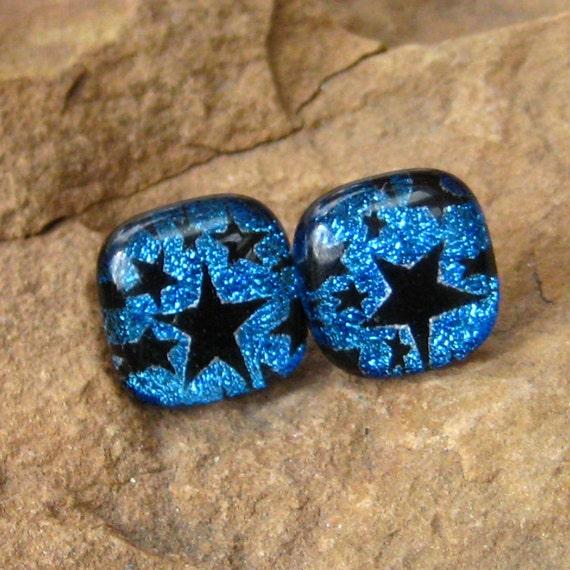 Dichroic Glass Button Earrings, Fused Glass Post Earrings, Heavenly Stars