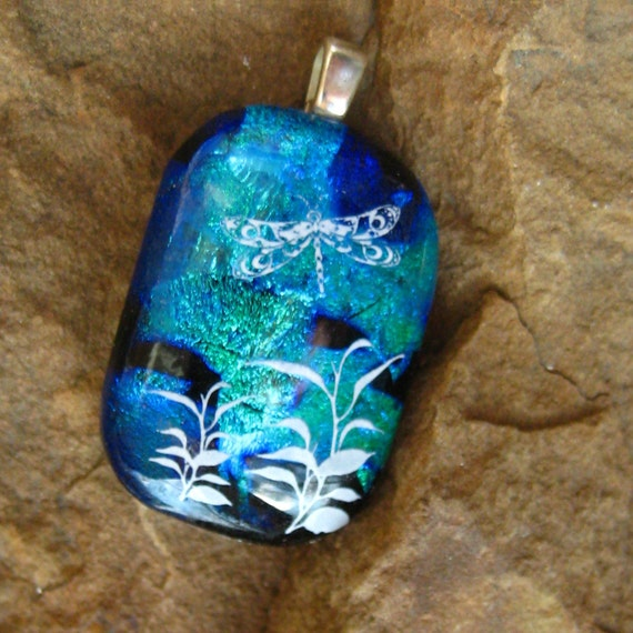 Dichroic Fused Glass Pendant  - Petite Blue Dragonfly Garden