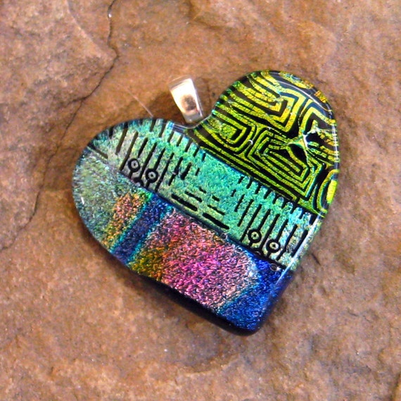 Fused Glass Heart, Dichroic Glass Heart Pendant - Crossroads